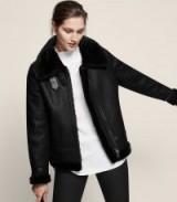 Reiss ARLA SHORT SHEARLING JACKET BLACK ~ stylish warm winter jackets