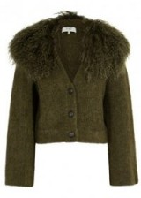 SEA NY Army green shearling-trimmed cardigan ~ cropped cardigans with shaggy collars