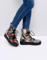 ASOS ALARNA Lace Up Snow Boots ~ floral winter footwear