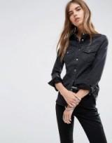 ASOS Denim Fitted Western Shirt in Washed Black / black denim shirts