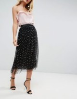 ASOS Faux Pearl Embellished Fully Lined Tulle Midaxi Skirt / sheer overlay skirts