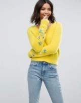 ASOS Jumper in Fluffy Yarn with Embellished Sleeves | yellow V-neck jumpers | knitwear