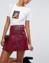 ASOS Leather Kilt Skirt with Buckle Detail | oxblood-red front zip skirts