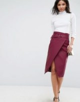 ASOS Leather Look Midi Pencil Skirt with Belt Detail | burgundy-red wrap skirts