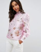 ASOS Premium Embroidered Top with Exaggerated Sleeve | pink high neck puff sleeved tops | luxe style fashion