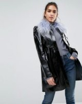 ASOS Skater Coat in Patent With Faux Fur Collar / black high shine coats