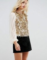 ASOS Top with Pretty Embellishment & Balloon Sleeve / sheer sleeved tops / gold embellishments / luxe style blouses