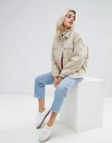 ASOS PETITE Denim Wadded Jacket in Stone – neutral casual jackets – petites fashion