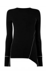 WAREHOUSE ASYMMETRIC PIPED SIDE JUMPER | black round neck uneven hem jumpers