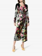 Attico Victoria Patchwork Print Wrap Dress – mixed print dresses