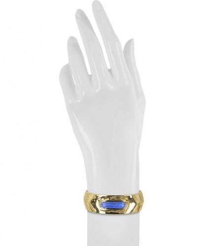 AURELIE BIDERMANN Peggy 18K Gold-Plated Bangle w/Lapis Lazuli Stone