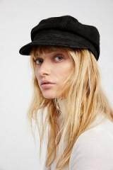 FREE PEOPLE Avery Leather Lieutenant Hat / black peak hats