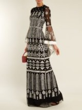 ANDREW GN Aztec-embroidered silk-blend gown ~ semi sheer black tulle gowns