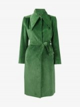 Balenciaga Green Corduroy Trench Coat – belted, oversized point collar cord coats