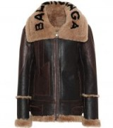 BALENCIAGA Shearling-lined logo print collar leather jacket / designer winter jackets