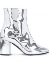BALENCIAGA Ville patent leather heeled ankle boots ~ metallic silver block heel boot