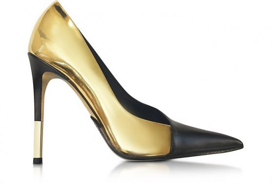 BALMAIN Agnes Gold Laminated Leather Pump – pointy pumps