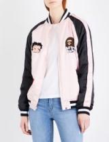 BAPE Betty Bape satin bomber jacket | casual pink jackets | streetwear