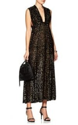 BARNEYS NEW YORK Leopard-Print Fil Coupé Maxi Dress ~ black and metallic-gold plunging dresses