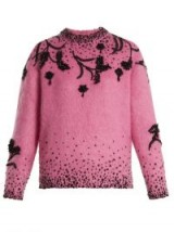 PRADA Pink Bead-embellished mohair-blend sweater | beaded sweaters | luxe knitwear
