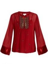 VELVET BY GRAHAM & SPENCER Becky embellished chiffon blouse ~ red boho blouses
