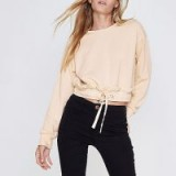RIVER ISLAND Beige ruched hem cropped sweatshirt