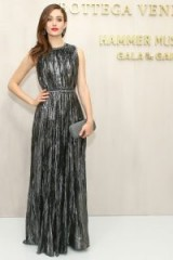 Emmy Rossum glamorous in a metallic Bottega Veneta gown