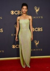 Gugu Mbatha-Raw looks effortlessly elegant in Hugo Boss, at the 2017 Emmy Awards