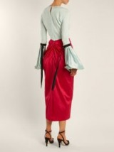 EMILIO DE LA MORENA Bi-colour balloon-sleeved silk dress ~ stylish mint-green and pink dresses ~ effortless elegance