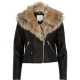 River Island Black faux fur shawl biker jacket