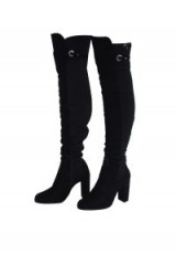AX PARIS BLACK OVER THE KNEE BOOTS WITH SILVER ZIP DETAIL