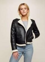 Miss Selfridge Black Shearling PU Biker Jacket ~ fur lined jackets