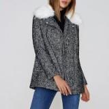 River Island Black tweed faux fur collar biker coat