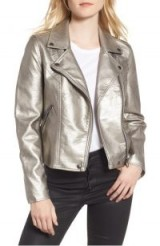 BLANKNYC Life Changer Moto Jacket | silver faux leather biker jackets