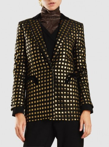 BLAZÉ MILANO‎ Marquita Everyday Blazer ~ black velvet and metallic-gold blazers ~ luxe jackets