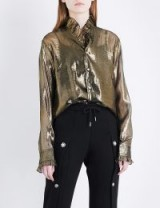 BLINDNESS Ruffled metallic silk-blend shirt | gold ruffle shirts