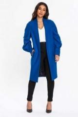 WALLIS Blue Pleat Sleeve Coat
