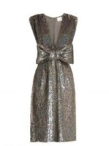 ASHISH Bow-front sequin-embellished sleeveless dress | silver impact dresses | sequins | bling fashion