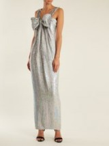 ASHISH Bow-front sequin-embellished square-neck dress | silver sequinned dresses