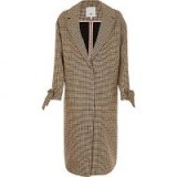 River Island Brown check tie cuff coat ~ longline dogtooth print coats