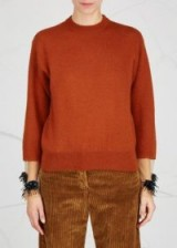 TOGA PULLA Brown embellished wool blend jumper ~ jumpers with sheer decorated cuffs