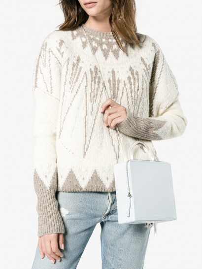 Building Block Box Shoulder Bag / pale blue leather bags / clear strap and top handle
