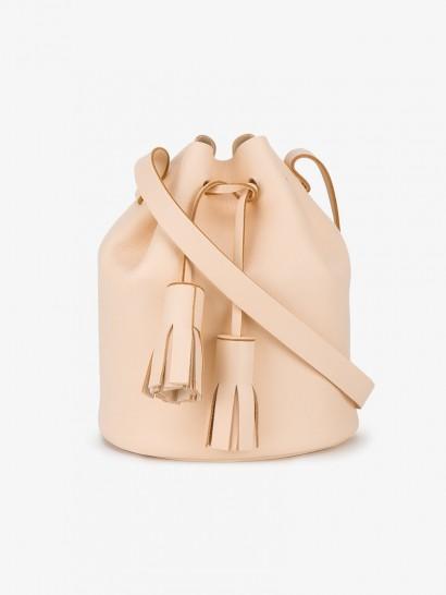 Building Block Bucket Tassel Shoulder Bag ~ pale peach leather bags