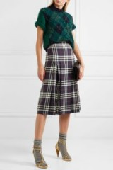BURBERRY Pleated checked wool midi skirt | check print skirts