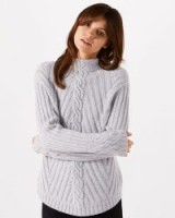 JIGSAW CABLE CUFF JUMPER ~ pale grey jumpers