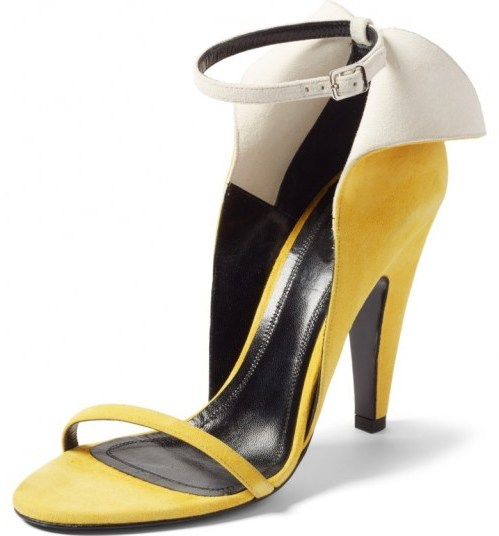 CALVIN KLEIN 205W39NYC Cammy Sandal sunflower/white suede / yellow winged ankle strap shoes - flipped