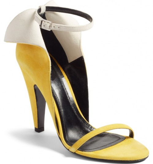 CALVIN KLEIN 205W39NYC Cammy Sandal sunflower/white suede / yellow winged ankle strap shoes