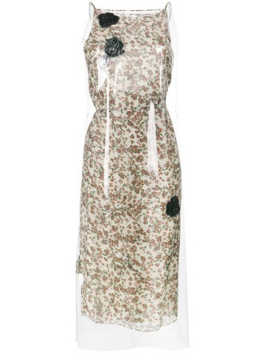 CALVIN KLEIN 205W39NYC Floral Print midi dress with transparent overlayer - flipped