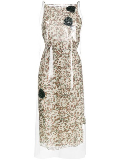 CALVIN KLEIN 205W39NYC Floral Print midi dress with transparent overlayer