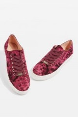 Topshop CARAMEL Velvet Trainers | burgundy sneakers | sports luxe | sporty flats